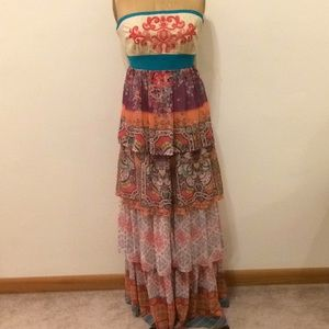 Flying tomato tiered maxi dress strapless
